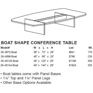 Case 2K Boat Shape Conference Tables