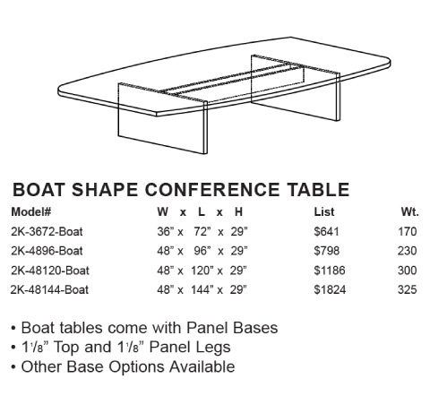 Case 2K Boat Shape Conference Tables