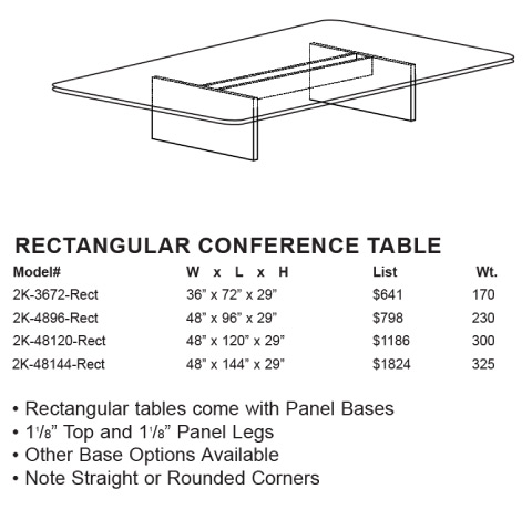 Case 2K Rectangular Conference Tables