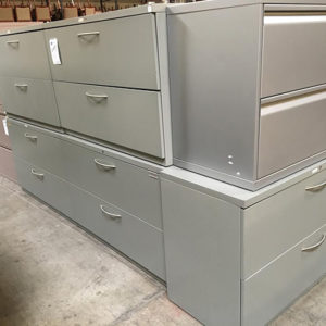 2 Drawer Lateral file gray with silver handles