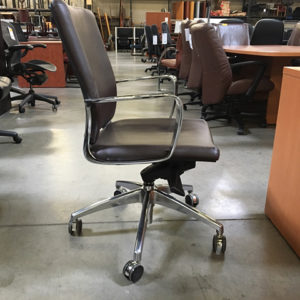 brown leather conference chairs side view