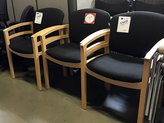 Cherry Wood Frame Black Fabrc Guest Chairs
