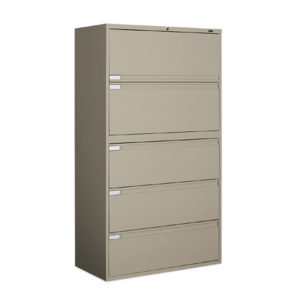 global 36 inch 5 drawer lateral gray