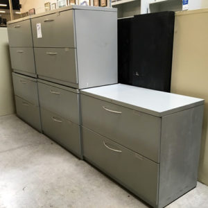gray 2 drawer lateral with silver pull handles