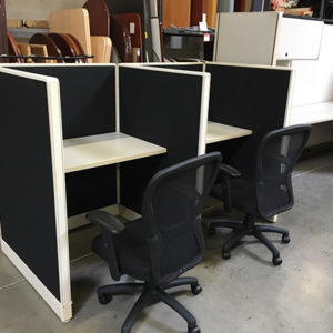 used haworth telemarketing stations side view