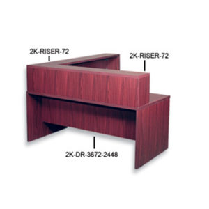 case 2 k reception desk risers mahogany