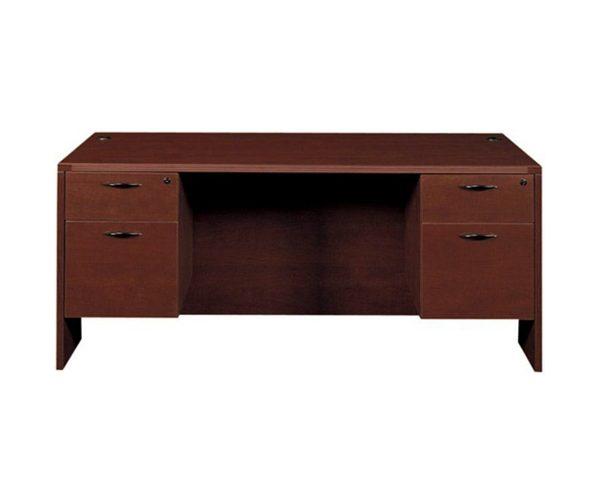 used cherryman amber desk double pedestal