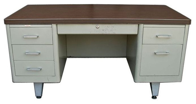 Beautiful Used Metal Tanker Desk Metal Tank Desk Wood Laminate Work Surface ...