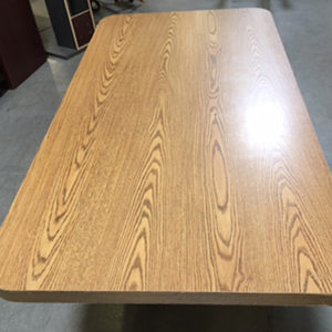 used conference table medium oak rounded edge rectangle side view