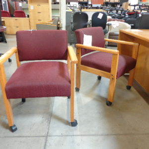 used red fabric wood base guest chair