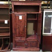 cherry wood media storage cabinet inside view