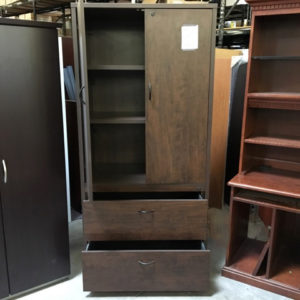 walnut laminate storage cabinet