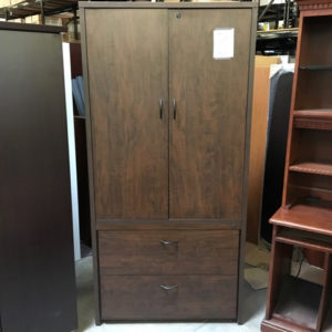 walnut laminate storage cabinet front view