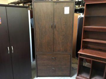 walnut laminate storage cabinet front view
