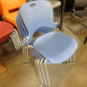 Used Herman Miller Caper Blue Armless Stack Chair