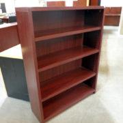 used-laminate-bookcase-mahogany-4-shelf