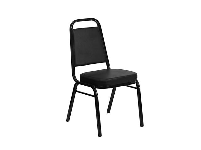 New Royal Square Back Stack Chair Black Vinyl Arizona