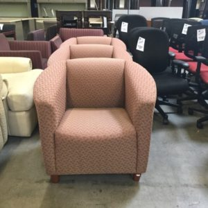 Used pattern fabric lounge chairs
