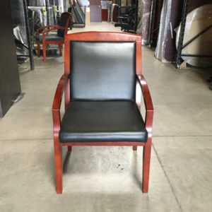 Used Faux Leather Wood Frame Guest Chair