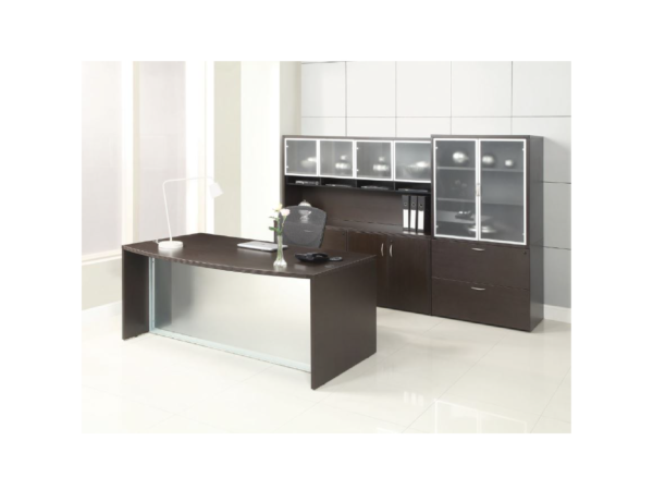napa desk with frosted modesty panel