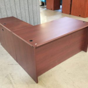 L shape desk mahogany