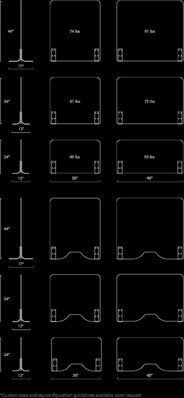 Clarus Health Shields Size Options
