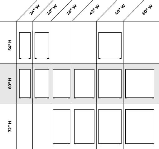 Claridge Space Dividers Size Options