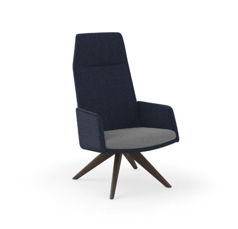 HON Mav Two-Tone High-Back Chair with Arms and Wood Base